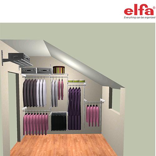 Пример мебели для гардеробной в мансарде